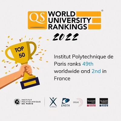 QS 2022 : IP Paris dans le top 50 mondial des meilleures universités et Grandes Ecoles